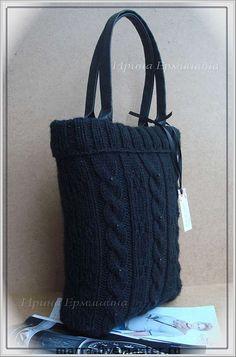 """Купить Вязаная сумка """"КЛАССИКА А4"""", черная для зимы и осени - сумка, авторская сумка"""
