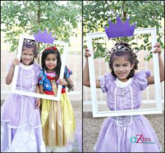 """Birthday """"Sofia the First Party"""" can have her girlfriends dress up as princesses and take pics like these Princess Sofia Birthday, Sofia The First Birthday Party, Little Girl Birthday, 4th Birthday Parties, Princess Party, Birthday Ideas, Princess Belle, 3rd Birthday, Photo Booth"""