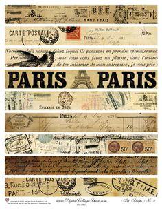Paris Art Strips free printable good for making washi tape. Travel vintage