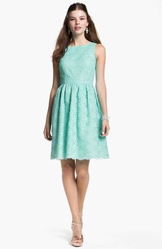 possible dress option for the summers festivities ... Calvin Klein Sleeveless Lace Fit & Flare Dress available at #Nordstrom