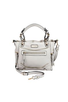 """This chic satchel bag offers dual top handles and zippers galore! It is both fashionable and easy to wear, with an adjustable and removable shoulder strap. It has two inside zip pockets and special places for a cell phone and more. The gold tone hardware contrasts with the dove gray vegan leather.    Measures: 11"""" L x 15"""" H x 4.5"""" W   Julianna Satchel Bag by Coco + Carmen. Bags - Satchel Boulder, Colorado"""