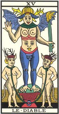 Découvrez Le Tarot de Marseille. Le Diable est la 15e lame du tarot. La carte - XV - Le Diable : Interprétation de l'arcane Le Diable du Tarot de Marseille.