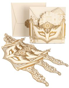 Mardi gras mask party invitation laser cut masquerade ball wedding ...
