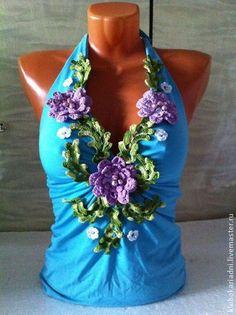 ТОП ЛЕТНИЙ - голубой,топ,летний топ,вязаные цветы,вышивка бусинами,масло