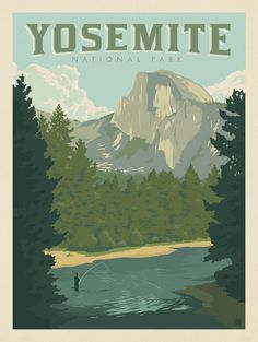 Anderson Design Group – 61 American National Parks – Yosemite National Park: Half Dome From the River Carlsbad Caverns National Park, Crater Lake National Park, Capitol Reef National Park, Mount Rainier National Park, Death Valley National Park, Joshua Tree National Park, Grand Canyon National Park, Rocky Mountain National Park, Yosemite National Park