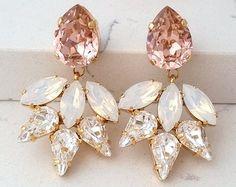 Blush bridal earringsBridal earringsblush pink by EldorTinaJewelry