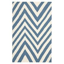 Dhurries Blue & Ivory Outdoor Area Rug