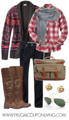 Fall or Winter Weekend Outfit - Flannel Top, Skinny Jeans, Aztec Sweater, Ray-ban Aviators, Gold Knot Earrings and Brown Tall Boots for an incredible price.