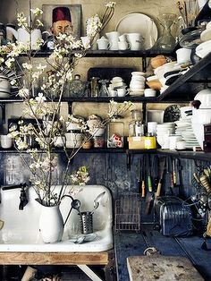 """The kitchen at Paddington. """"I make sure my house is always full of fresh flowers – Dogwood is one of my favourites."""""""