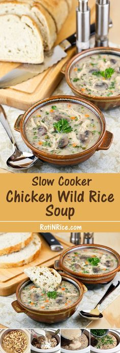 Few things are more comforting than coming home to this deliciously creamy Slow Cooker Chicken Wild Rice Soup. You'll want to make this over and over again. | Food to gladden the heart at RotiNRice.com