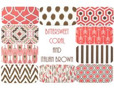 Warm & Wonderful Coral and Brown for Fall! Coral Brown Fall Pillow Covers  16 x 16 Mix & by PillowStyles, $17.50