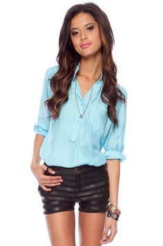 Simply Buttoned Blouse in Baby Blue $27 at www.tobi.com