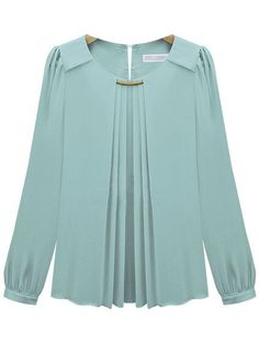 Blue Long Sleeve Metal Embellished Chiffon Blouse - Sheinside.com: