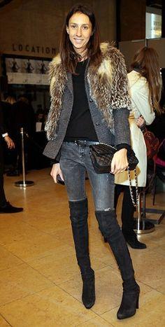 Geraldine Saglio. love the layered fur!