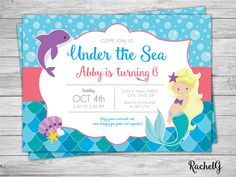 Personalized dolphin birthday party invitations diy printable under the sea mermaid and dolphin birthday invitation digital pdf or jpg filmwisefo Gallery