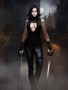 Cordelia, Human Assassin, Neutral Evil.  On the night streets of Sinque in Vesh, hunting a Niadim agent.
