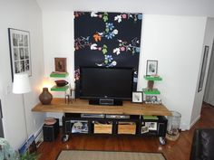 LACK + kitchen counter top = modern TV stand/ Entertainment Center - IKEA Hackers - IKEA Hackers