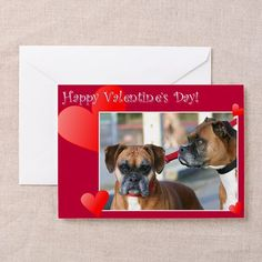 "Happy Valentines Day Boxer Greeting Card  Choose from three size options: Note Card (4"" x 5.6""), Greeting Card (5"" x 7""), or X-Large Greeting Card (7.8"" x 11"")  #valentine's #boxer #dogs #card #cards #love #romance #valentine"