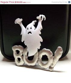Halloween Ghost Boo JJ pin jewelry by dollherup on Etsy, $14.40