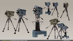 Television studio cameras from the 1960s, ones that would be used on TV news sets like CBS, NBC, etc.