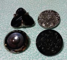 4 Vintage Black Glass Buttons by BygoneButtonBoutique on Etsy