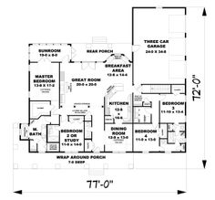 The Devore House Plan - 1807. Convert the dinning room into a library and bedrooms 3/4 into an in-law suite with inside and outside entrance.