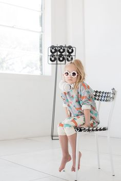 fun indoor shoot. Cool looks with quirky prints by Gardner and the Gang for kids fashion spring 2015