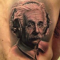 Detailed Einstein tattoo portrait. Nicely done
