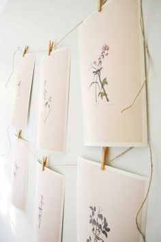 DIY: botanical prints on display with clothespins & twine