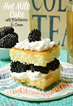 Hot Milk Cake with Blackberries & Cream - a perfect summer entertaining dessert! Easy & you don't even have to remove the cake from the pan! via Little Miss Celebration