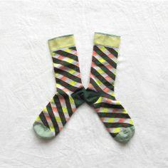 Chaussettes Bonne Maison / Bonne Maison socks - Losanges Vert Rose