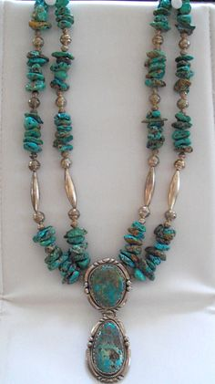 Vintage Navajo Turquoise and Sterling Necklace by CMJgems on Etsy, $495.00