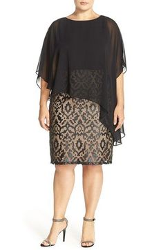 Adrianna Papell Appliqué Shift Dress with Chiffon Overlay (Plus Size) available at #Nordstrom