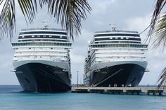 Two of my favorite Holland America Line ships, Nieuw Amsterdam and Eurodam (sister ships) docked in Grand Turk, Turks & Caicos Islands.