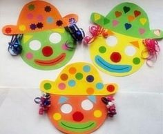 Máscaras de payaso para un carnaval infantil