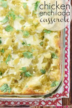 Chicken Enchilada Casserole ~ salsa verde, green chiles, and a creamy homemade sauce make this stacked Chicken Enchilada Casserole as delicious as the original without all the work of rolling them!   FiveHeartHome.com Recipes With Green Enchilada Sauce, Green Chicken Enchilada Casserole, Green Chili Enchiladas, Green Chicken Enchiladas, Green Chili Sauce, Enchilada Recipes, Recipes With Green Sauce, Green Chili Casserole, Chicken Enchiladas Verde