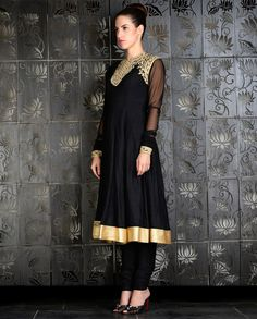 Black Kalidar Set with Dori Embroidered Yoke