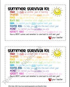 summer survival kit for student of of year gift
