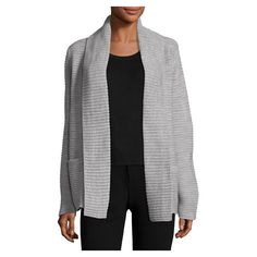 Neiman Marcus Ribbed Novelty Stitched Cardigan, Gray ($95) ❤ liked on Polyvore featuring tops, cardigans, long sleeve tops, grey cardigan, shawl collar cardigan, ribbed cardigan and gray cardigan