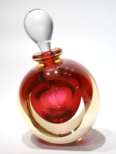 Gold Luster Ruby Glass Scent Bottle
