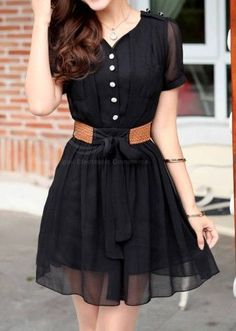 Modern Style Scoop Neck Short Sleeves A Single Row Of Buttons Bow Tie Chiffon…