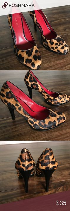 Nine West animal print heels Cute and sassy Nine West heels. Animal  print body made from real fur. Leather body under. Sole and heel shiny black leather. These are fun show stoppers! Heel height 4. Nine West Shoes Heels