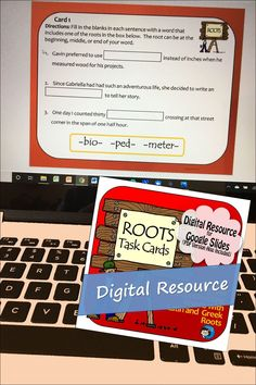 Digital task cards for Google Slides for practicing with Latin and Geek roots, for improving middle school and upper elementary vocabulary skills Fun Classroom Activities, Vocabulary Activities, Multiple Meaning Words, Prefixes And Suffixes, Classroom Language, Upper Elementary, Writing Skills, Task Cards, Middle School