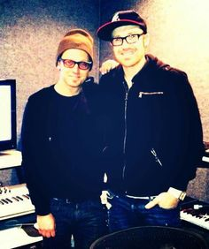 "Toby Mac and Ryan Stevenson working on ""Speak Life."""