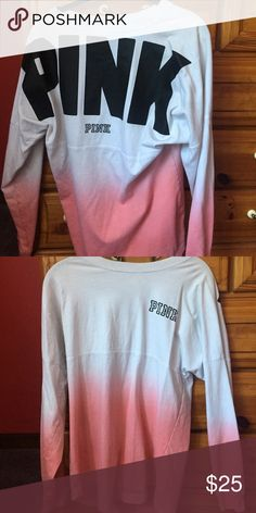 Pink ombré Victoria's Secret shirt Only worn a few times size extra small Victoria's Secret Tops