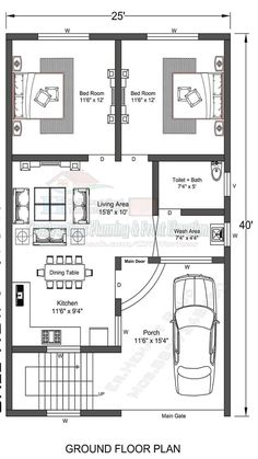 Town House Plans, Little House Plans, 2bhk House Plan, Unique House Plans, Indian House Plans, Free House Plans, Model House Plan, House Layout Plans, Family House Plans