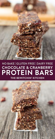 No Bake Chocolate Cranberry Protein Bars are the perfect protein snack for lunchboxes. Packed with nutrients and healthy ingredients these homemade protein bars are easy to make and fuss-free, these can be whipped up and ready within minutes! Refined sugar-free, flourless, egg-free, vegan, dairy-free and gluten-free. via @RandaDerkson
