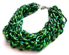 Paper beads statement necklace spring green jewelry  eco friendly natural forest colors sustainable upcycled jewelry. $40.00, via Etsy.