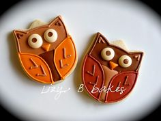 Thanksgiving Cookies by lizybbakes Owl Sugar Cookies, Fancy Cookies, Cut Out Cookies, Iced Cookies, Royal Icing Cookies, Thanksgiving Cookies, Holiday Cookies, Holiday Treats, Fall Treats