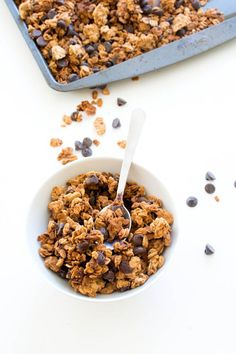 Super Easy 4 Ingredient Peanut Butter Chocolate Chip Granola. So much better than store bought. This Peanut Butter granola takes less than 20 minutes to make.